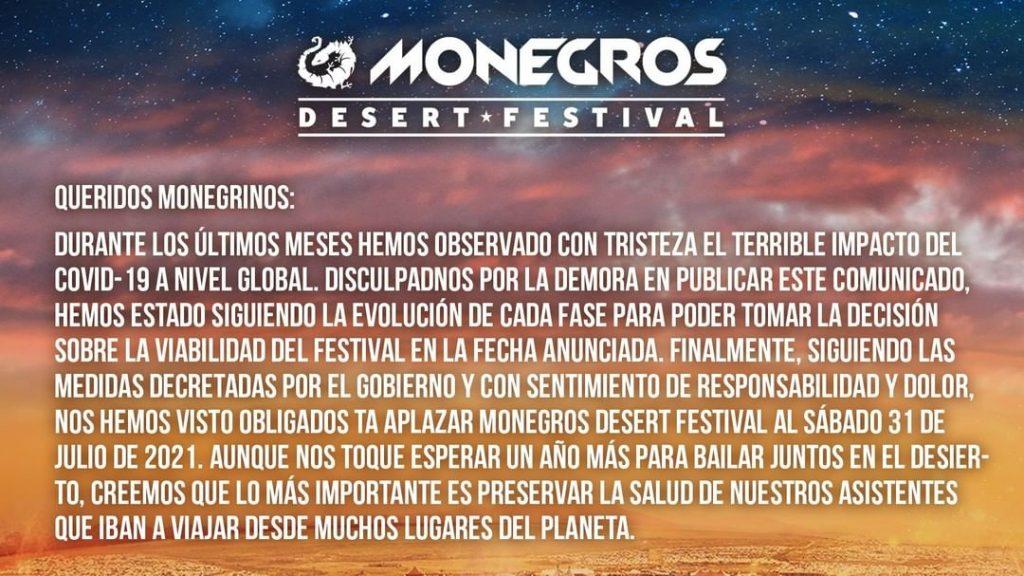 Comunicado oficial Monegros Desert Festival